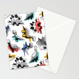 Geometric Dinos // non directional design white background multicoloured dinosaurs shadows Stationery Cards
