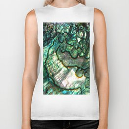 Shimmering Green Abalone Mother of Pearl Biker Tank
