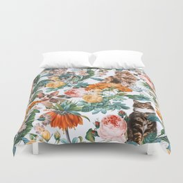 Cat and Floral Pattern III Duvet Cover