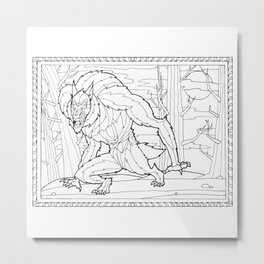 Werewolf from the Bestiary Coloring Book Metal Print