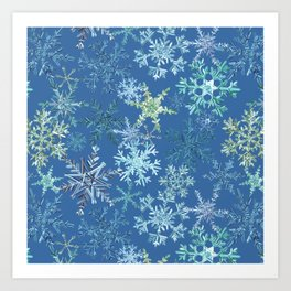 icy snowflakes on blue Art Print