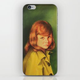 Red Haired Girl in a Rain Coat iPhone Skin