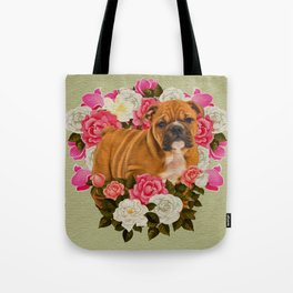 English Bulldog Puppy with flowers Tote Bag