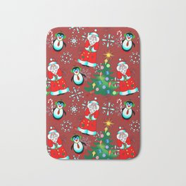 Santa and Penguin in Wine Red Bath Mat