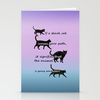 marx Stationery Cards featuring Black cat crossing by IvanaW