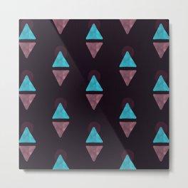 Boho Geometric Watercolor Pattern - Mauve Metal Print