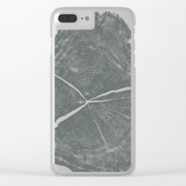 Locust Tree ring image, woodcut print Clear iPhone Case