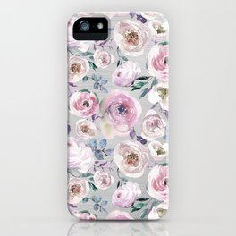 Hand painted blush pink gray violet watercolor roses floral iPhone Case
