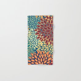 Floral Prints, Red, Teal, Yellow, Orange, Abstract Art, Colourful Prints Hand & Bath Towel