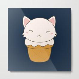 Kawaii Cute Cat Ice Cream Metal Print