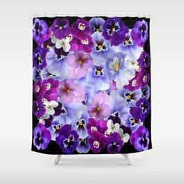 PURPLE-WHITE-PINK PANSY FLOWERS & BLACK Art Shower Curtain