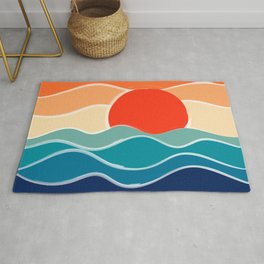 Retro 70s and 80s Color Palette Mid-Century Minimalist Nature Waves and Sun Abstract Art Rug