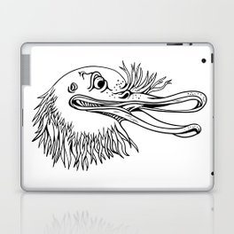 Angry Kiwi Bird Head Cartoon Black and White Laptop & iPad Skin