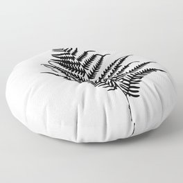 Fern silhouette. Isolated on white background Floor Pillow