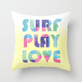 Surf Play Love Throw Pillow