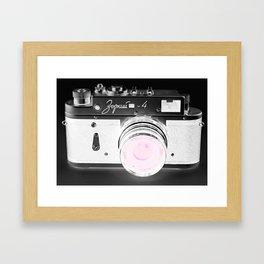 vintage Camera Black & White + Pink Framed Art Print