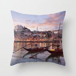 Oporto at dusk Throw Pillow