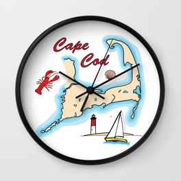 Cape Cod Map with Sailboat, Lighthouse, Lobster, and Shell Wall Clock