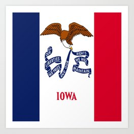 flag of Iowa, america, usa, midwest,Council Bluffs, Iowan,Des Moines,Cedar Rapids,Davenport,sioux Art Print