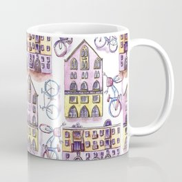 Bicycles in the town - pattern Coffee Mug
