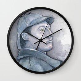 Data as Sherlock Holmes Watercolor TNG Portrait Wall Clock