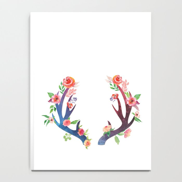 Roses and Antler - Floral flowers  watercolor Illustration Notebook