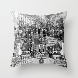 Summer space, smelting selves, simmer shimmers. 25, grayscale version Throw Pillow