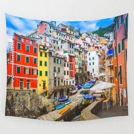 Colorful Riomaggiore Cinque Terre Italy Wall Tapestry