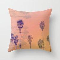 santa monica Throw Pillows featuring Santa Monica Palms by Nina May Designs