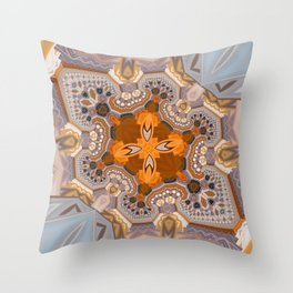 Abstract autumn with artistic mushrooms Throw Pillow