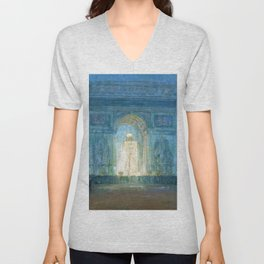 African American Masterpiece 'Washington Square Arch' Greenwich Village, NYC by Henry Ossawa Tanner Unisex V-Neck