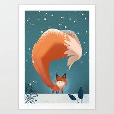 Long fox tail Art Print