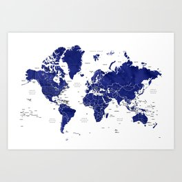 Navy blue world map with countries Art Print
