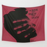 hitchcock Wall Tapestries featuring The Man who Knew Too Much - Alfred Hitchcock Movie Poster Minimal by Stefanoreves