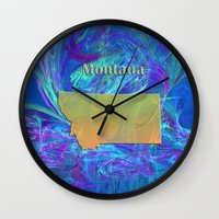 montana Wall Clocks featuring Montana Map by Roger Wedegis