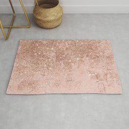 Girly blush coral faux rose gold glitter marble Rug