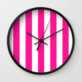 Deep pink -  solid color - white vertical lines pattern Wall Clock