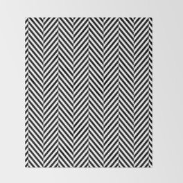 Classic Black & White Herringbone Pattern Throw Blanket