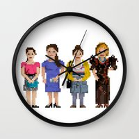 girls Wall Clocks featuring Girls by Sy Graham