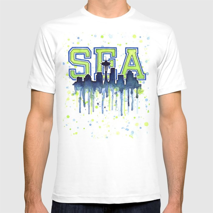 Seattle 12th Man Art Watercolor Space Needle Painting T-shirt