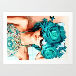 Lovers and flowers Art Print