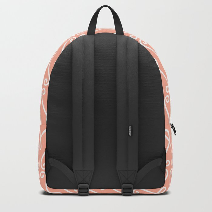 White Ornamental Designs on Pink Background Backpack