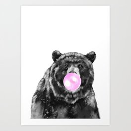 Bubble Gum Big Bear Black and White Art Print