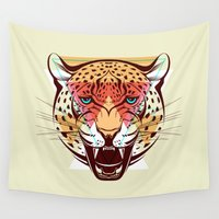 leopard Wall Tapestries featuring Leopard by Pevuna
