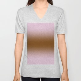 Pink Lace to Chocolate Brown Bilinear Gradient Unisex V-Neck