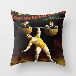 Vintage Vaudeville Poster Throw Pillow