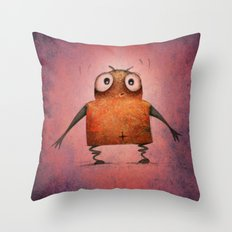 Pink Droid Undroid Throw Pillow
