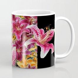 ORIENTAL STAR GAZER  LILIES FLORAL MODERN BLACK ART Coffee Mug