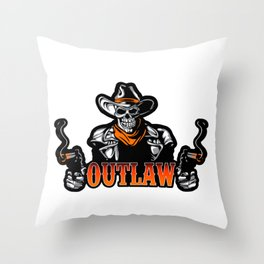 Cowboy Skull With Revolver Throw Pillow