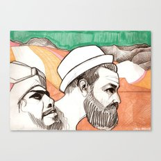 Two men and the mountains Canvas Print